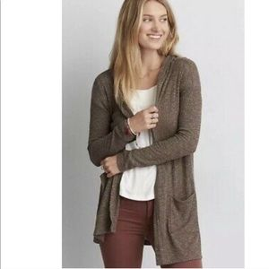 American Eagle Outfitters brown hooded cardigan